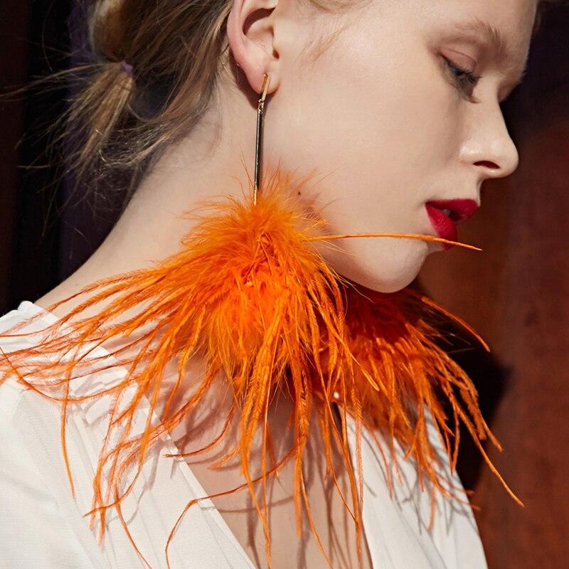 Earrings For Women Fashion Jewelry 2018 Orange Feather Tassels Dangle Earrings Pendant Long Drop Feather Earrings