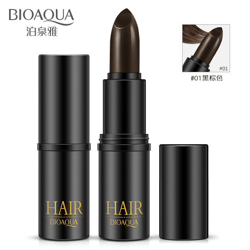 BIOAQUA Fashion Black Brown Temporary Hair Dye Cream Mild Fast One-off Hair Color Pen Cover White Hair DIY Styling Makeup Stick ...
