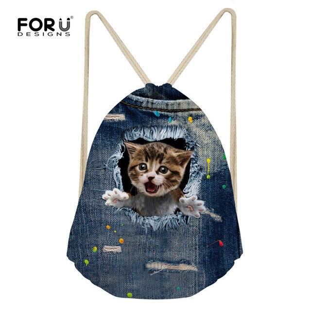 2ca741f8d6 FORUDESIGNS Demin Cat Drawstring Backpacks Hamster Printed Women Kid s  Casual Shoulder Bags 3D Travel Kawaii Beach Bag Wholesale