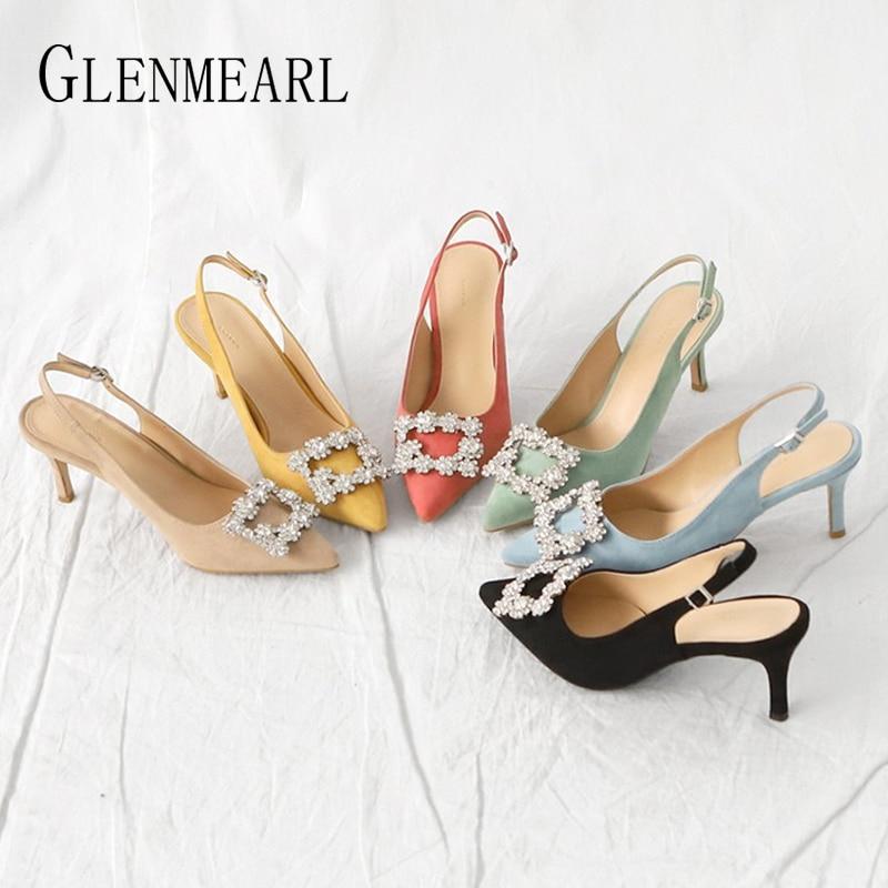 Women Pumps Shoes Rhinestone Non-Slip Pointed-Toe High-Heels Plus-Size Fashion Ladies