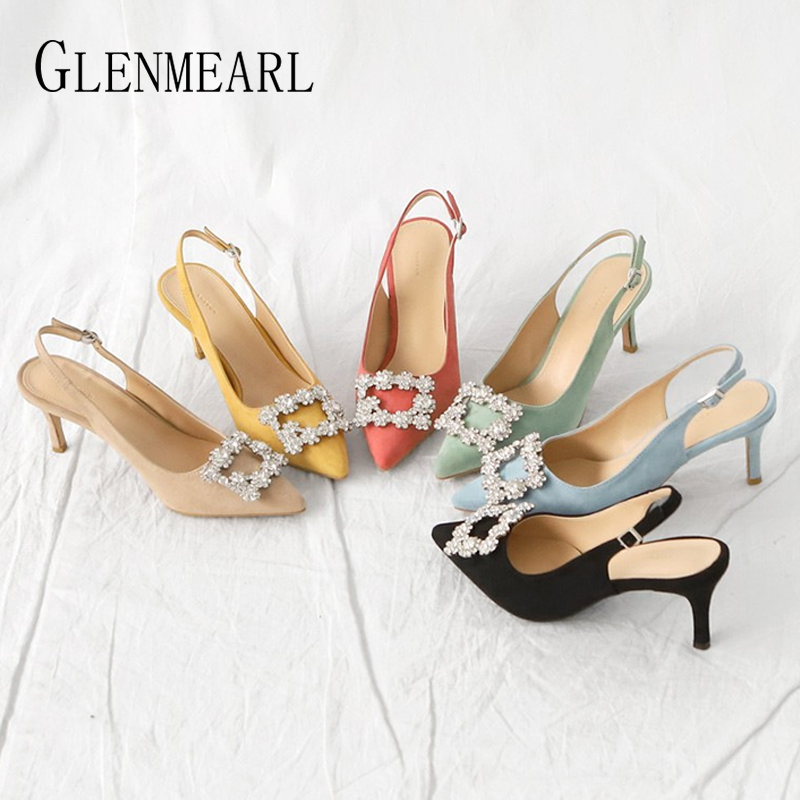 Women Pumps Fashion Ladies Rhinestone High Heels Shoes Soft Leather Heels Shoes Woman Pointed Toe Non-slip Brand Plus Size DE