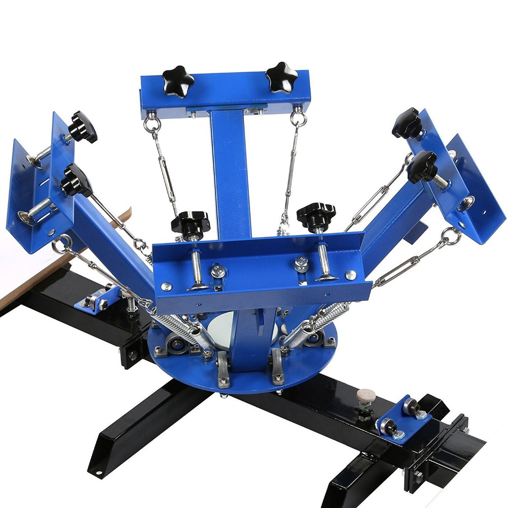4-color 2 Workstation Screen Printing Press Right Angle Stamping Machine Applicability