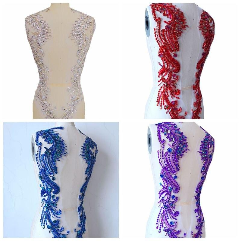 손으로 만든 크리스탈 트림 패치 스톤 스팽글 비즈와 메쉬에 rhinestones applique에 바느질 62*39 cm 드레스 다시-에서패치부터 홈 & 가든 의  그룹 1