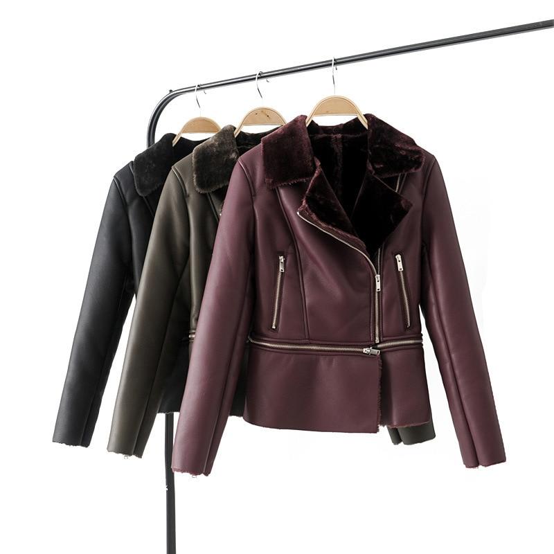Winter Casual Faux   Leather   Thick Women Coat Lower Edge Detachable Warm PU Female Jacket