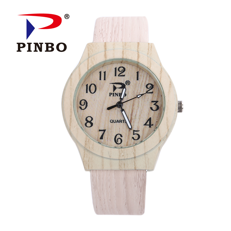 PINBO New Brand Vintage Ladies Casual Quartz Watch Women Leather Wood Grain Analog Dress Watches Relogio Feminino Clock Hot Sale 2016 new arrivals brand butterfly dial relogio feminino quartz dress watch leather ladies casual watches women female clock