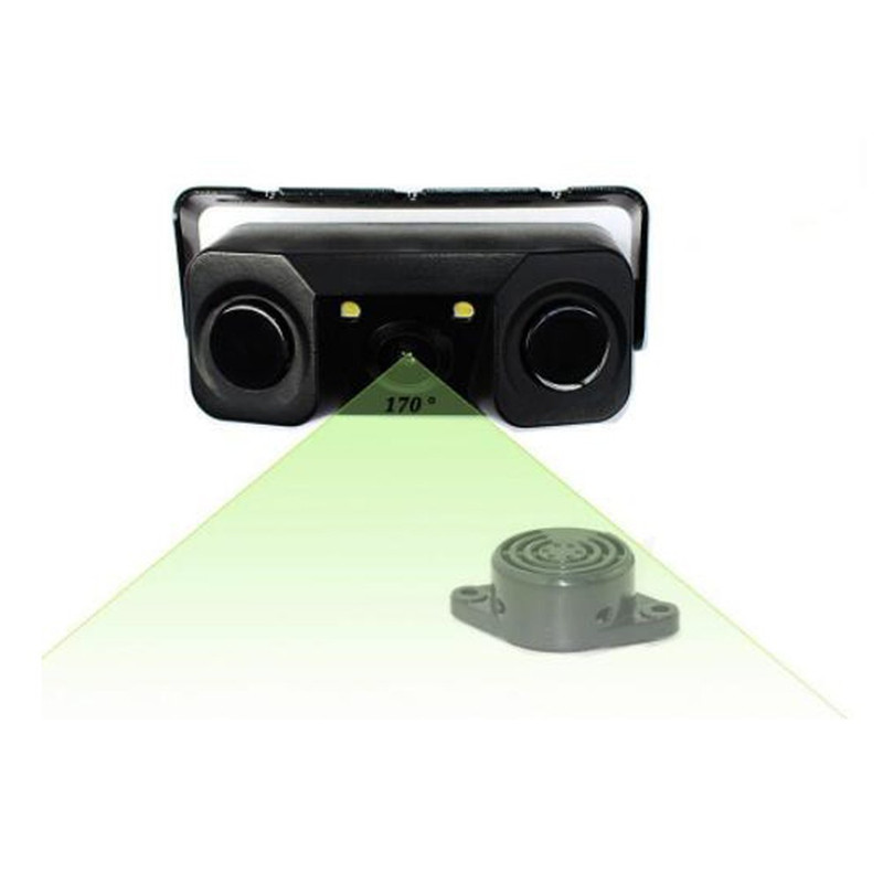 JCOLI Universal Car Rearview Camera with Radar Parking Sensor 3 in 1 HD Waterproof IP67 Night Version 170 Degree