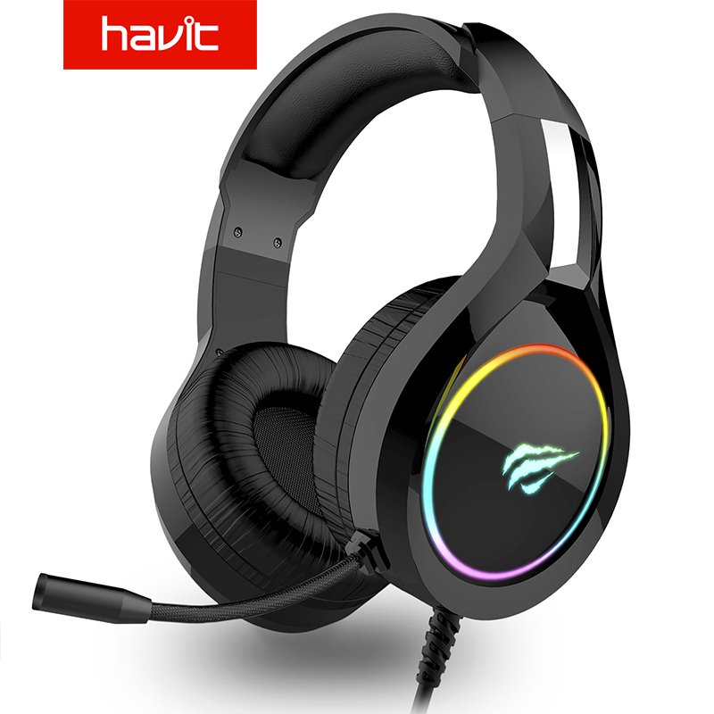 HAVIT <font><b>Gaming</b></font> Headset PC USB 3,5mm <font><b>Wired</b></font> XBOX/PS4 Headsets mit 50MM Fahrer, surround Sound & HD Mikrofon für Computer Laptop image