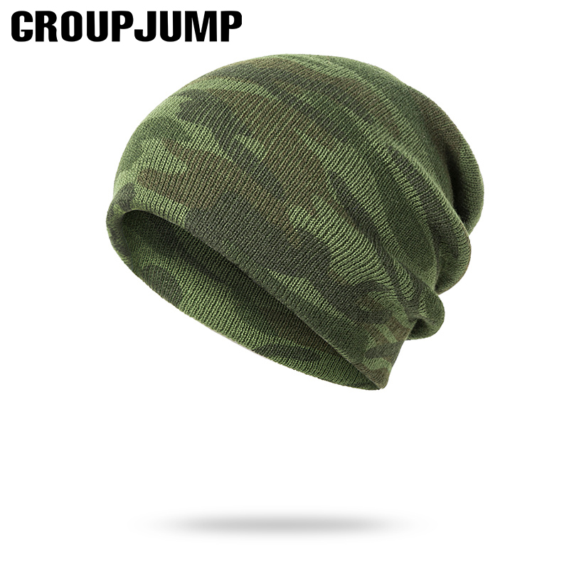 GROUP JUMP Knitted Camo   Beanies     Skullies   Thicken Knitted Army Camouflage Hat for Men Winter Hat Warm   Beanie   Casual Green Hats