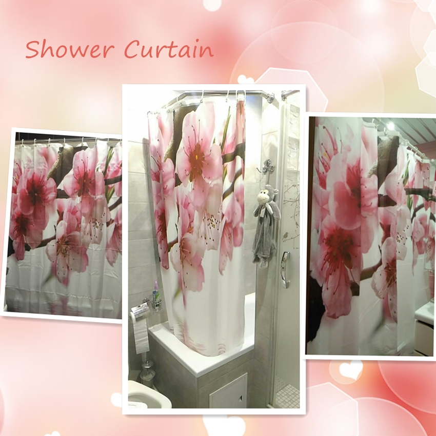WONZOM Modern Polyester Waterproof Blooming Rose Vase Shower Curtains For Bathroom Fabric Elegant Bath Curtain With Hooks Gift in Shower Curtains from Home Garden