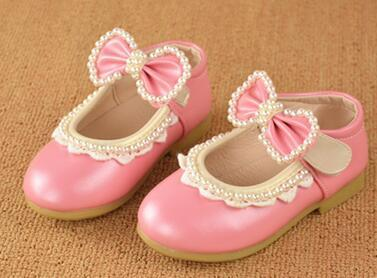2017 baby butterfly-knot beading baby sandals shoes spring girls leather shoes single casual shoes baby shoes free shipping