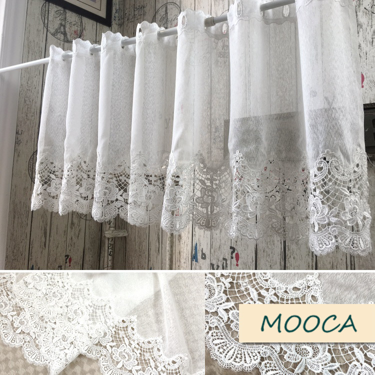 White Lace Curtain Embroidered Short Kitchen Curtain-in