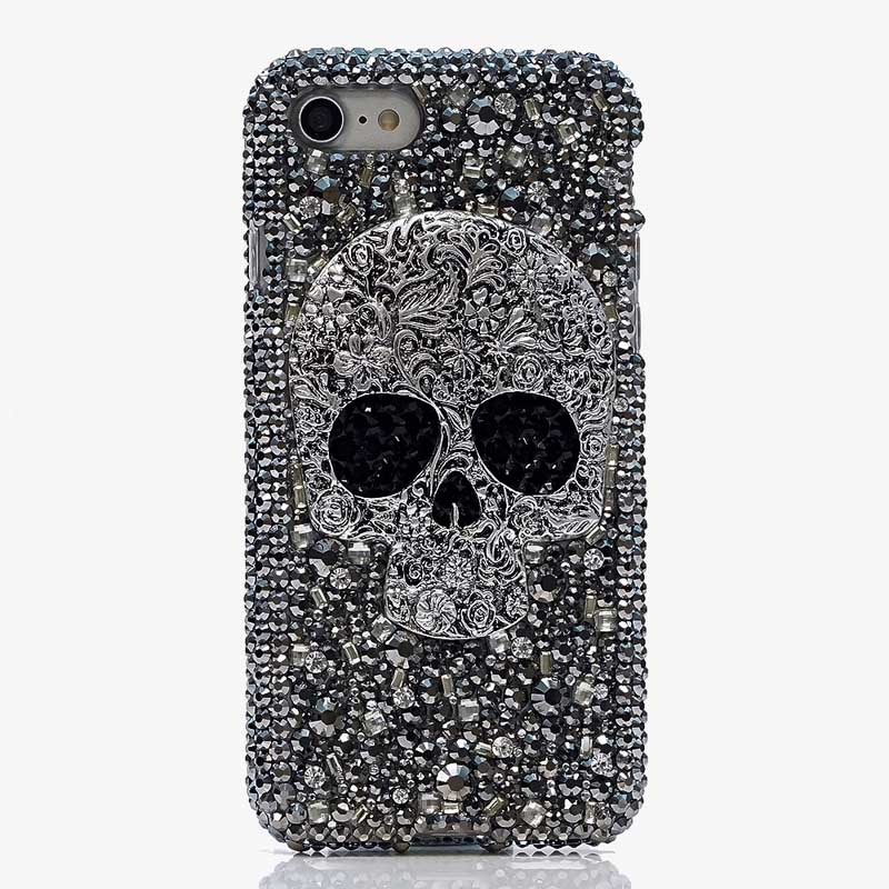 Cool Metal Skull Skeleton Grey Eye Bling <font><b>Cases</b></font> for <font><b>Huawei</b></font> P30 P20 Lite P30 <font><b>Pro</b></font> P10 Lite Y5 Y6 2019 punk rock Crystal Fundas image
