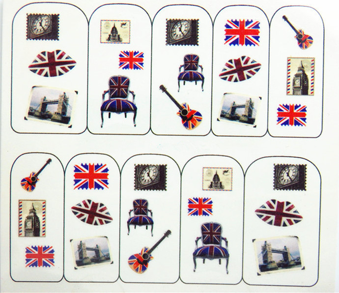 Water Transfer Nail Art Stickers Decal Cute Uk Flags Vine Y Design French Manicure Foils Sting Tools