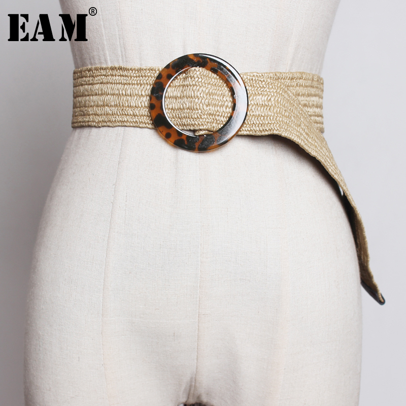 [EAM] 2019 New Spring Summer Knittting Buckle Split Joint  Personality Long Wide Belt Women Fashion Tide All-match JT469