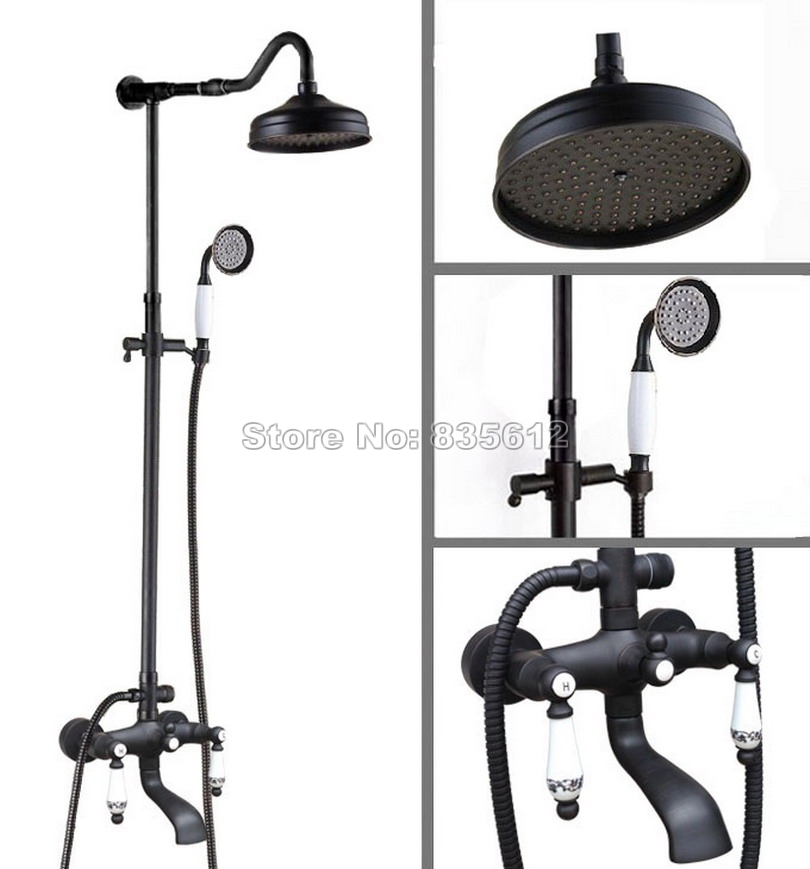 Bathroom Black Oil Rubbed Bronze Rain Shower Faucet Set with Hold Shower+Dual Ceramic Handles Wall Mounted Tub Mixer Tap Whg624