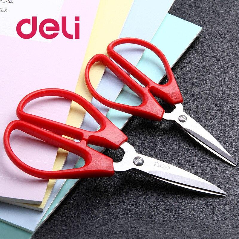 Deli 1pcs Durable Stainless Steel Household Scissors Office Paper-cut Scissors Sharp Shears Students DIY Scissor Tool 6035