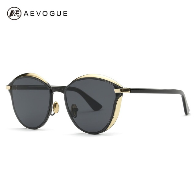 AEVOGUE Sunglasses Women Cat Eye Copper Frame Acetate Temple Luxury Brand Designer Sun Glasses UV400 With Box AE0456