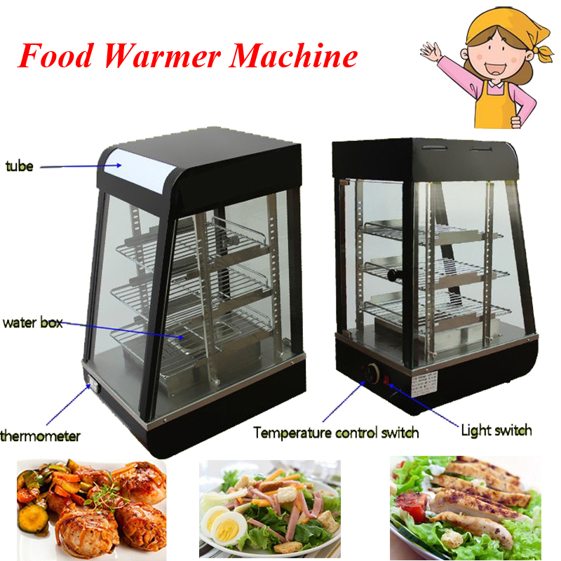 1pc Food Warmer Machine Three Layers Thermal Container Heat Preservation Tank Food Warmer Food Display Case FY-604 churro display warmer deluxe stainless steel churro showcase machine with heat food warmer and oil filter tray