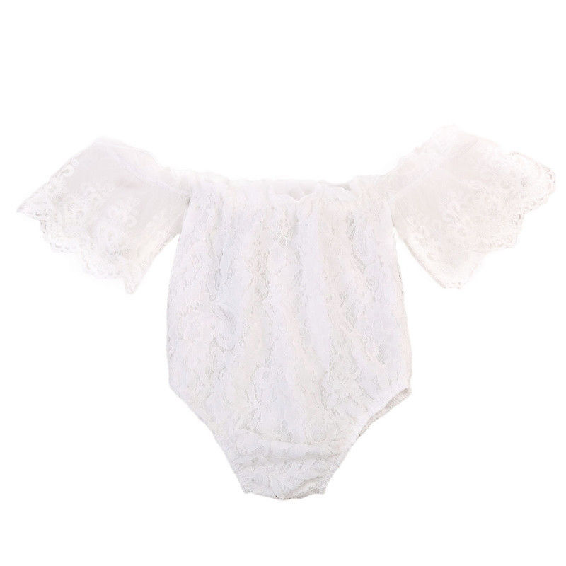 Cute Lace Rompers Infant Baby Girls Summer Jumpsuits Kid Baby Girls White Off Shoulder Romper Toddler Girl Short Sleeve Jumpsuit newborn baby rompers baby clothing 100% cotton infant jumpsuit ropa bebe long sleeve girl boys rompers costumes baby romper