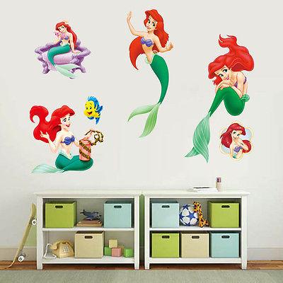 The Little Mermaid Wall Sticker Cute Cartoon Vinyl Decal Baby Girls  Princess Room Art Decor(