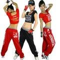 Новая Мода хип-хоп лучших танец женщины Джаз производительности костюм носить сексуальное короткое письмо выдалбливают футболка