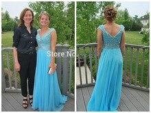 Lange kleider abendkleider 2015 A-linie sexy v-ausschnitt perlen flügelärmeln blau chiffon abendkleider vestido de festa de casamento