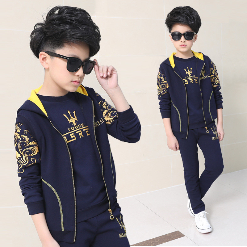Fashion Boys Vest + Hoodies + Pants Sets Kids Clothes Autumn Tracksuit Teenagers Toddler Boy Set Clothing Bottom Baby Suit bibicola spring autumn baby boys clothing set sport suit infant boys hoodies clothes set coat t shirt pants toddlers boys sets