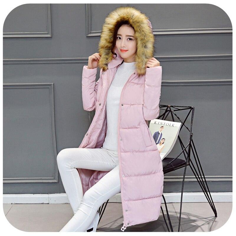 Artı Boyutu 2016 Moda Kadınlar Parka Kış Faux Kürk Ceket Kadın uzun Beyaz Ördek Aşağı Pamuk Parkas Kalın Kapüşonlu Kış Aşağı Ceket