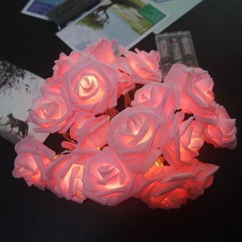 Romantic Rose Flower Garland With Led Lights Powered By Battery,Wedding Decoration New Year Supplies,Kids Room Fairy Light 1