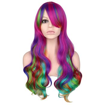 цена на QQXCAIW Rainbow Colorful Long Curly Wig Cosplay Party Women 70 Cm High Temperature Synthetic Hair Wigs