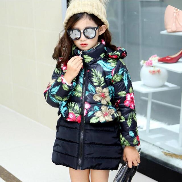 2017 новое поступление; пуховик Куртка для девочки зима Бой цвет цветы хлопчатобумажная куртка с длинным капюшоном утолщение пальто для девочек