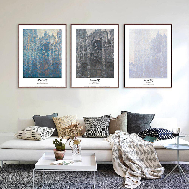 HOT Sales Triptych Minimalism Ancient Architecture Nordic Style Art Canvas  Painting Wall Picture For Living Room Cafe Decor