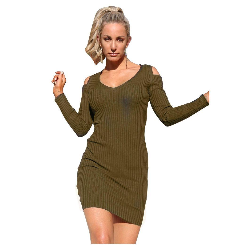 Winter Sexy Low-cut Off Shoulder Knitwear Jumper Dress Long Sleeve Women Knitted Sweater Dress