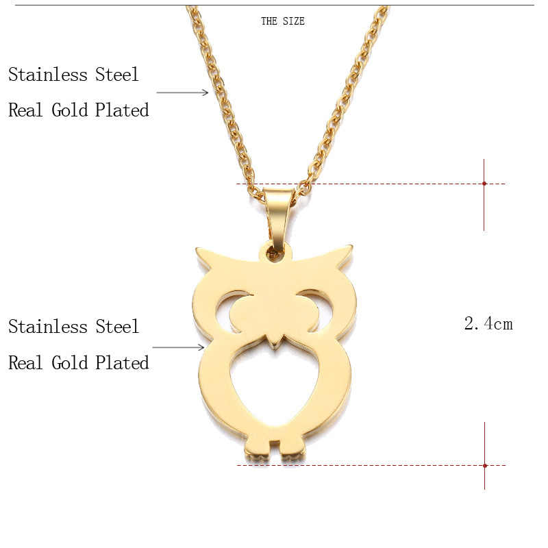 DOTIFI Stainless Steel Necklace For Women Man Lover's Owl Gold And Silver Color Pendant Necklace Engagement Jewelry