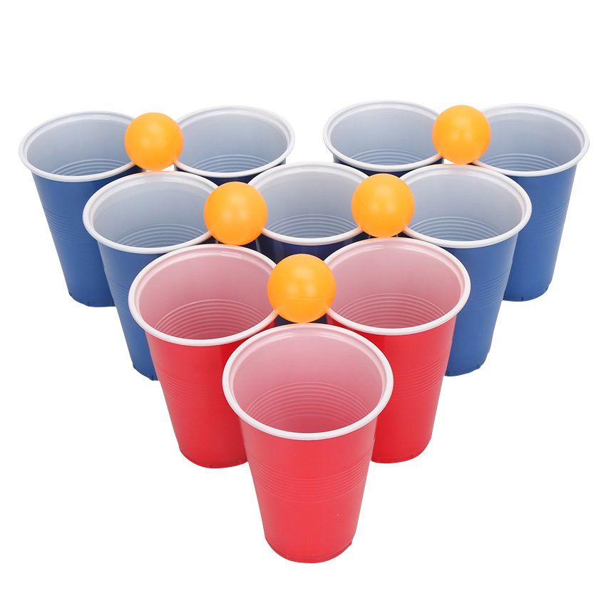 10sets Beer Pong Balls Set 24Cups 24Balls Classic Drinking Game for Table Tennis Ping Pong Tournaments Carnival Games Board Game image