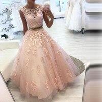 Элегантный Двойка вечернее платье с длинным рукавов Тюль аппликация Кристалл с круглым вырезом для выпускного бала Платья для вечеринок ха