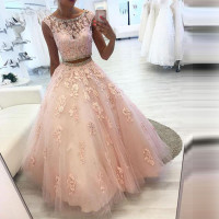 Elegant Two Pieces Evening Dress Long Sleeveless Tulle Appliqued Crystal O Neck Prom Gowns Party Dresses Robe De Soiree
