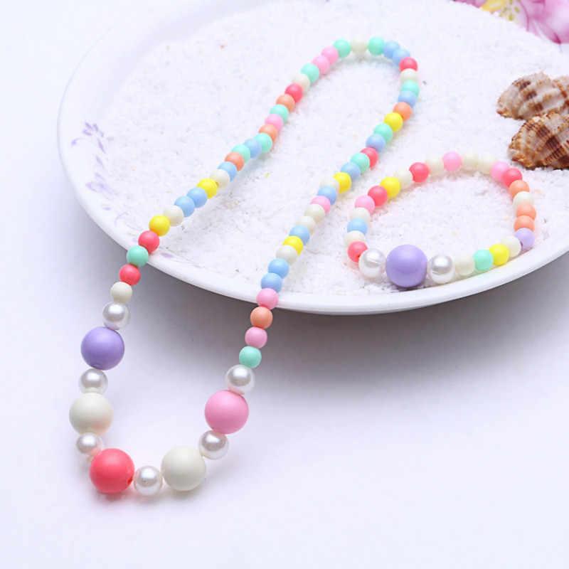 1 ensemble mignon fille cadeaux enfants princesse accessoires ensembles mélanger Macaron couleur acrylique perles fleur collier et Bracelet