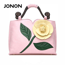 JONON brand spring new women tote bag with a flower bucket bag high quality PU leather handbag vintage shoulder messenger bags