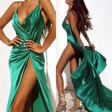 2019 New Dark Green Sexy Prom Dresses Halter Neck Full Length High Side Split Formal Evening dress Custom Made evening dresses