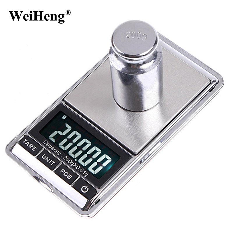 WeiHeng 200g x 0.01g Precision Measuring Weight Tools LCD Digital Jewelry Scale Gram 0.01 Pocket Balance Electronic Scales lcd digital jewelry scales 500g 0 1g electronic scale precision portable pocket weight balance kitchen gram scale