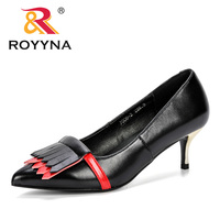 ROYYNA New 2019 Popular Style High Heeled Shoes Female Fashion Summer Korean Version Mixed Color Breathable Shoes Women Pumps