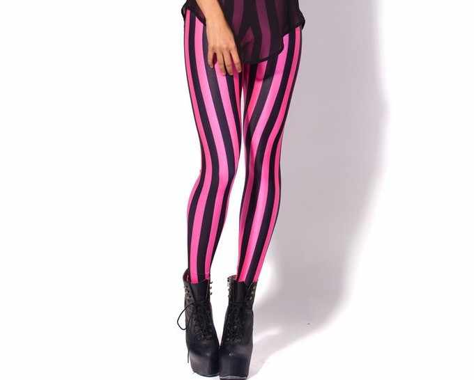 c026e89298f ... 5 Patterns Vertical Striped Red Workout Leggings S To 4xL Plus Size  Pink White Black Fitness ...