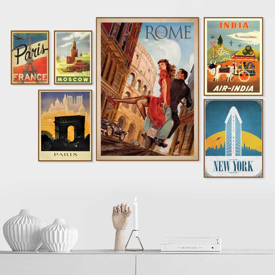 Rome Paris New York India Vintage Country Wall Art Canvas Painting Nordic Posters And Prints Wall Pictures For Living Room Decor