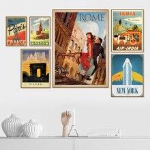 Roma París Nueva York India Vintage cuadro sobre lienzo para pared carteles nórdicos y las huellas de la pared para decoración para sala de estar