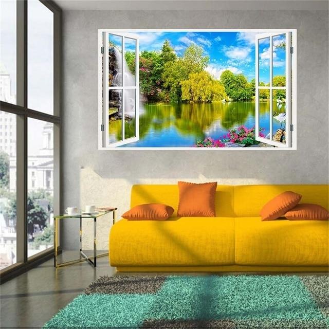 New Product 3D Windows Decal Wall Sticker Home Decor Water Falls Art ...