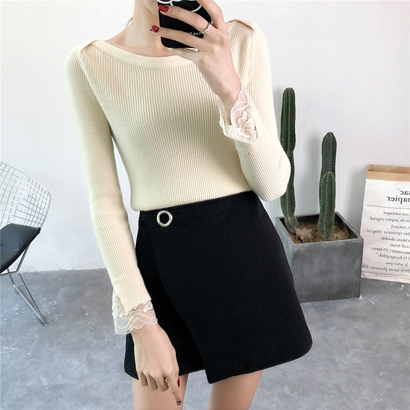GOPLUS 2019 Fashion Spring Winter Knitted Sweater Women Slash Neck Lace Long Sleeve Pullover Lady Cotton Befree Female Sweater in Pullovers from Women 39 s Clothing