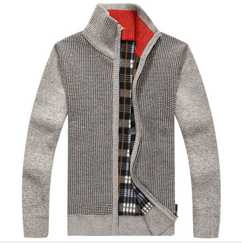 Warm Thick Velvet Cashmere Sweaters Men Winter Cardigan Zipper Tops Stand Collar Man Casual Clothes Pattern Knitwear Big Size