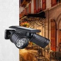 Solar Light 14 LED Double Head Spotlight Adjustable PIR Body Sensing Wall Lamp Home Telescope Light Solar Garden Light