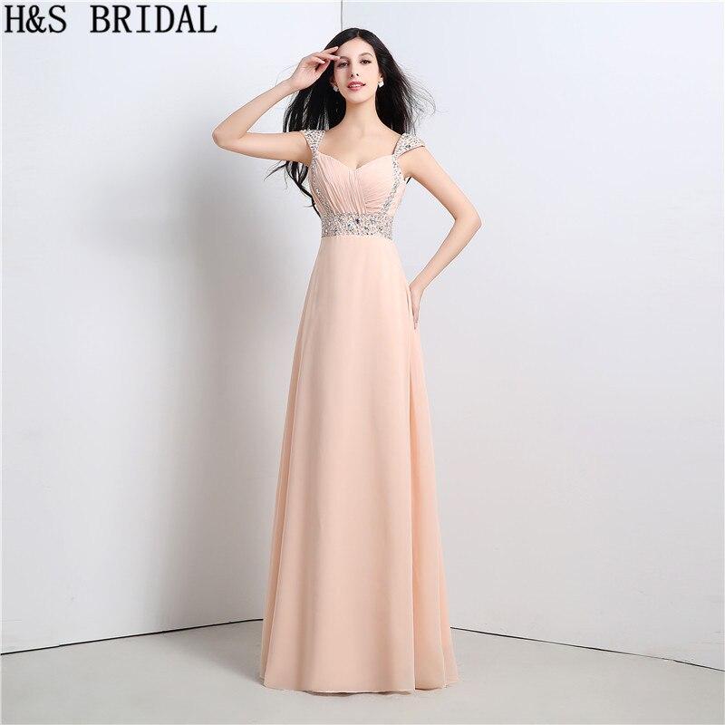H & S mariée chérie perlée robes de soirée longue dos nu en mousseline de soie robe de soirée à lacets 2017 robe de mariage